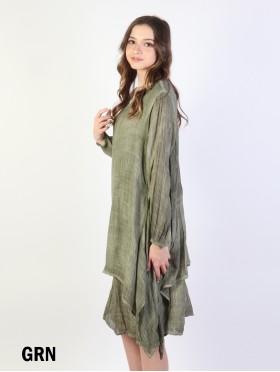 Layered Soild Long Shift Dress