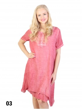 Short Sleeved Layered Shift Dress W/ Lacy Details