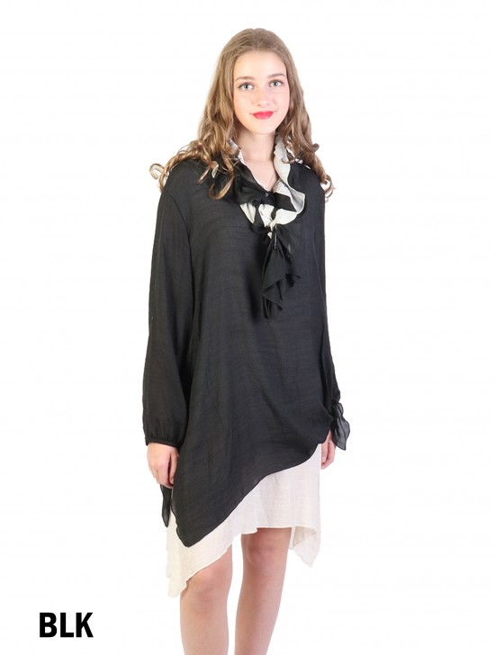 Layered Long Sleeve Shift Dress W/ Belt or Scarf