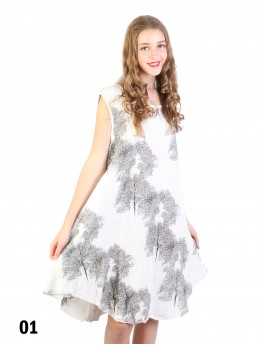 Fashion Dress With Woods Printed