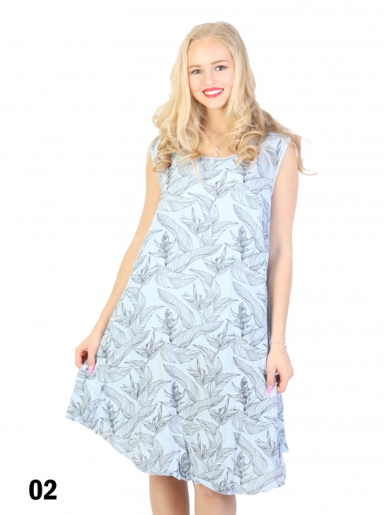 Fashion Dress With Leaves Printed
