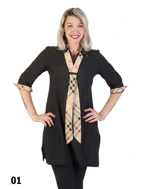 Vintage Check Tie Shirt Dress