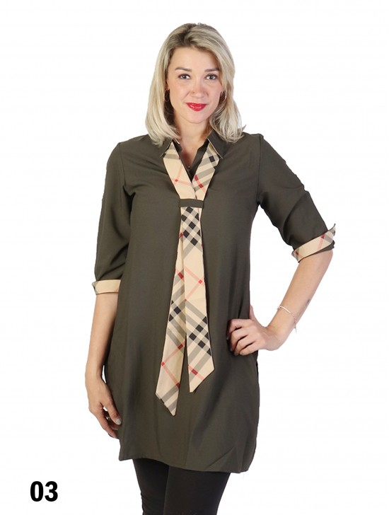 Checkered Tie Shirt Dress