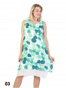 Ink Printed Layered Soild Shift Dress