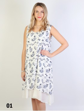 Layered Solid Shift Dress With Flower Print