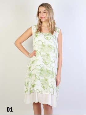 Double Layered Sleeveless Dress W/Flower Vines Print