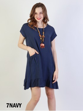 Shift Dress with Flowncy Edge.Cut-out Shoulder and Pockets