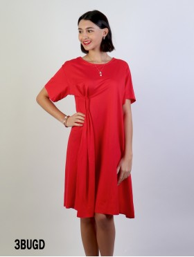 Solid Color Front Gathered Dress