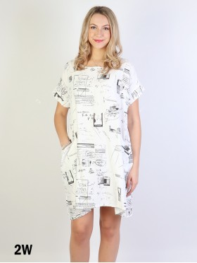 Newspaper Print Dress W/ Pockets