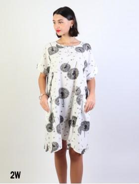 Dandelion Print Dress W/ Pockets