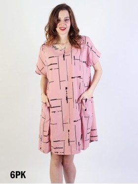 Linear Print Shift Dress W/ Pockets