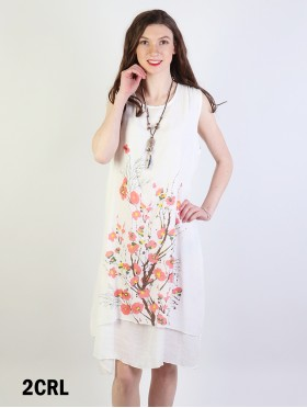 Layered Solid Shift Dress With Cherry Blossom Print