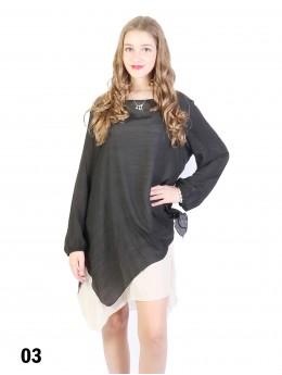 Layered Long Sleeve Shift Dress