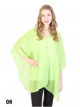 Solid Color Chiffon Top W/ Pearl Buttons