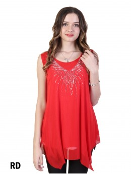 Abstract Rhinestone Butterfly Chiffon Top