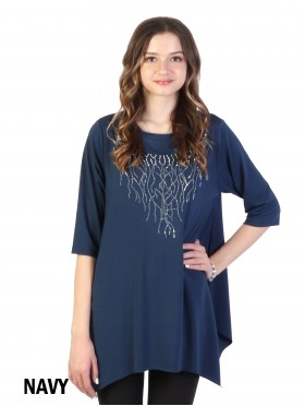 Branched Rhinestone Chiffon Top with Sleeve