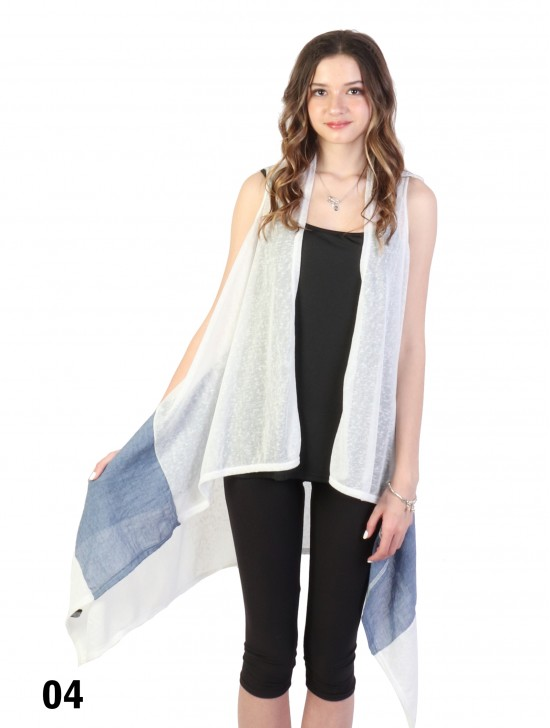Long Cardigan Two-Colours Stitching Casual Vest
