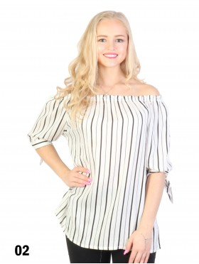Off The Shoulder Striped Blouse W/ Ribbon Detail