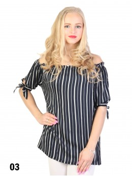 Off-the-Shoulder Striped Blouse W/ Ribbon Detail
