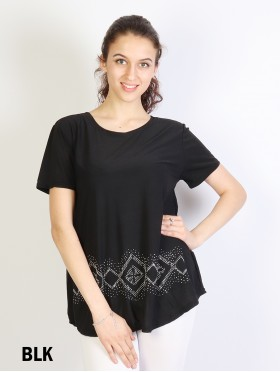 Rhinestone Short-Sleeved T-shirt