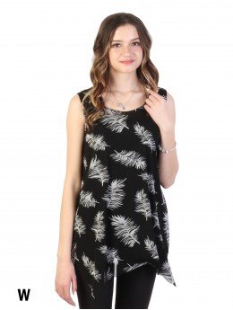 Feather Print Layered Chiffon Top
