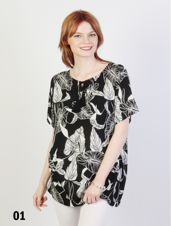 Leaves Printed Short Sleeves Top