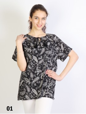 Paisley Printed Short Sleeves Top