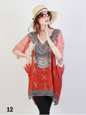 Short Sleeve Loose Bohemian Rhinestone Fashion Top