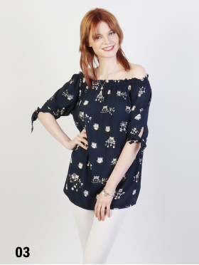 Off-the-Shoulder Owl Pattern Blouse W/ Ribbon Detail