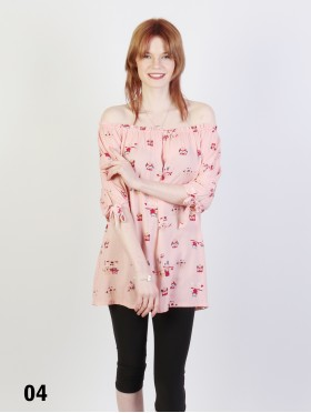 Off The Shoulder Owl Pattern Blouse W/ Ribbon Detail