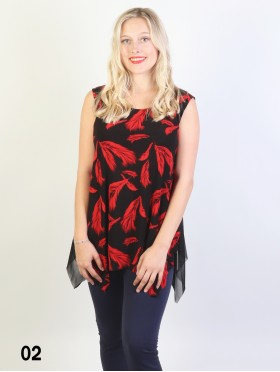 Fashion Ink Print Feather Shoulder Tops