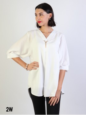 Fashion Blouse W /V Pin & Buttoned Back