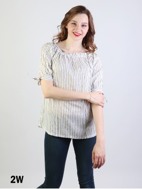 Stripe Detail Off The Shoulder Fashion Top