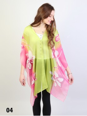 Reversible Pearl Chiffon Top with Pastel Flowers