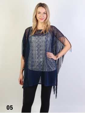 Lace Crochet Cover-up Top with Fringe