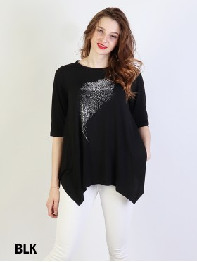 Solid Colour Fashion Top With Feather Mid- Sleeved Rhinestones