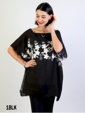 Stitched Flower Design Fashion Flowy Top