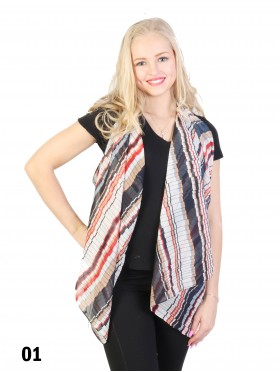 Multi-way Striped Patterned Chiffon Vest or Scarf W/ Button