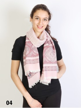 Floral Printed Two-Tone Scarf W/ Fringe