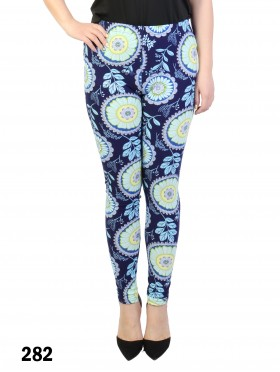 Flower & Leaves Pattern Stretchy Legging
