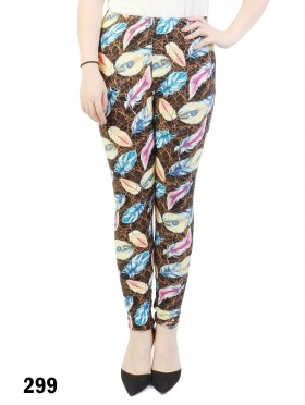 Leaves Print Stretchy Legging