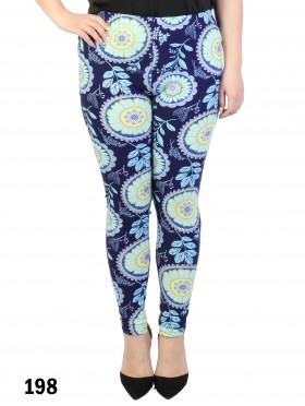 Plus Size Flower & Leaves Pattern Stretchy Legging