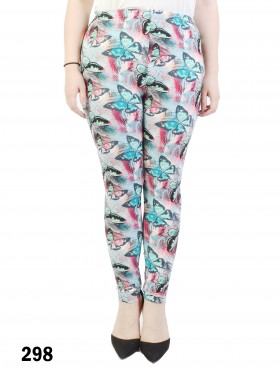 Plus Size Butterfly Print Stretchy Leggings