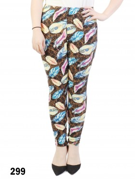 Plus Size Leaves Print Stretchy Leggings