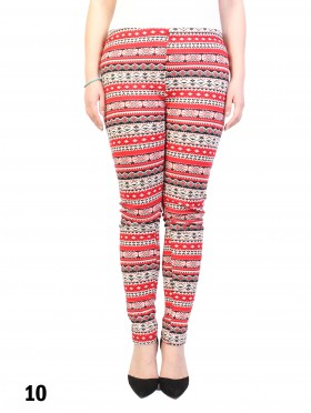 New Material Stretchy Fleece Lined Tribal Print High-Waist Leggings