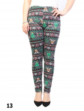 New Material Stretchy Fleece Lined Christmas Print High-Waist Leggings