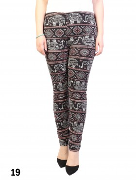 New Material Stretchy Fleece Lined Elephant Print High-Waist Leggings