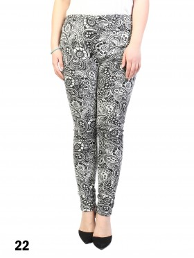 New Material Stretchy Fleece Lined Large Paisley Print High-Waist Leggings
