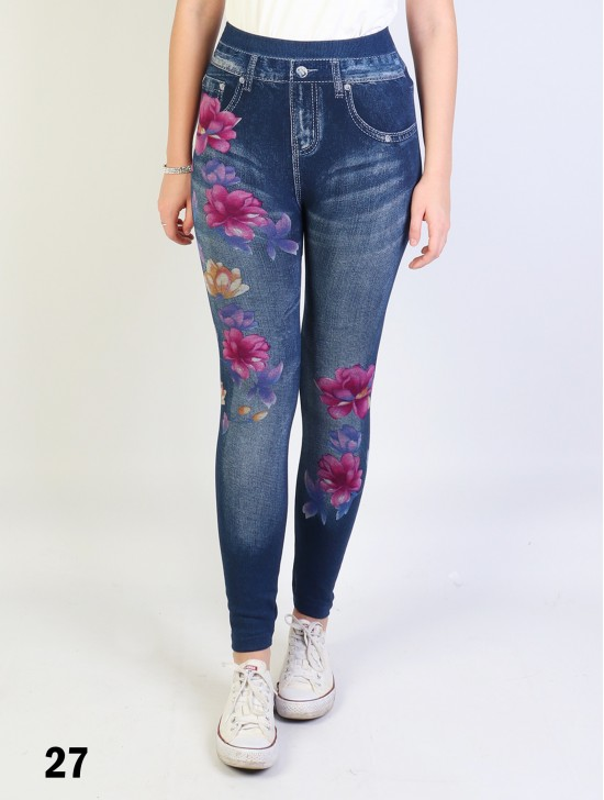 Denim Style Stretchy Leggings (Non-Fleeced)