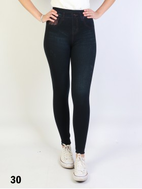 Demin Style Stretchy Fleece Lined Leggings